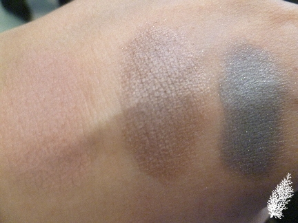 Eyeshadow Swatches L to R-Tea Rose, Rosewood, Pearl Grey