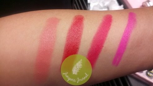 Lipstick swatches : Spotlight Me, Yoni Crush, A Killing Smile, Candy Yum Yum