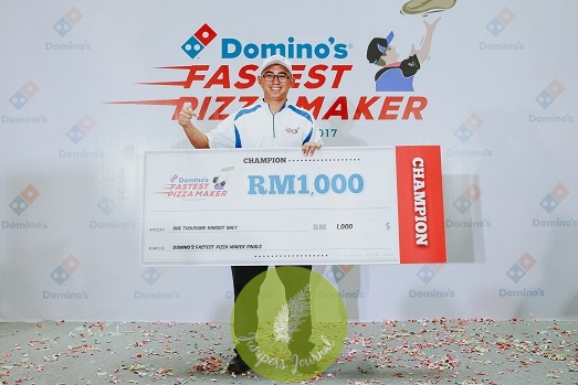 Champion Abdillah Abdul Shukor, Domino's Pizza's Country Operations Manager, with a record of 1 minute and 33 seconds, took home RM1,000.00
