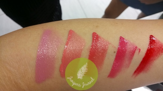 Elianto Satin Lip Lacquer swatches
