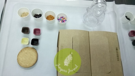 The ingredients and tools for the chocolate workshop