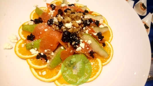Roquefort And Pear With Smoked Salmon And Toasted Walnut