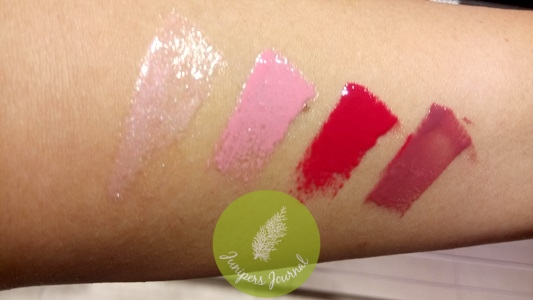 MAC Lipglass swatches - For The Frill Of It, Pink-A-Boo, Cherry Mochi, Heartmelter