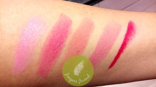 MAC Lipstick swatches - Hey, Kiss Me!, Tsk! Tsk!, Hi-Fructease, Wagasa Twirl, Framboise Moi