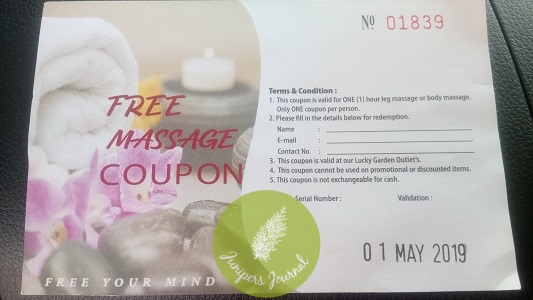 Complimentary foot massage/body massage