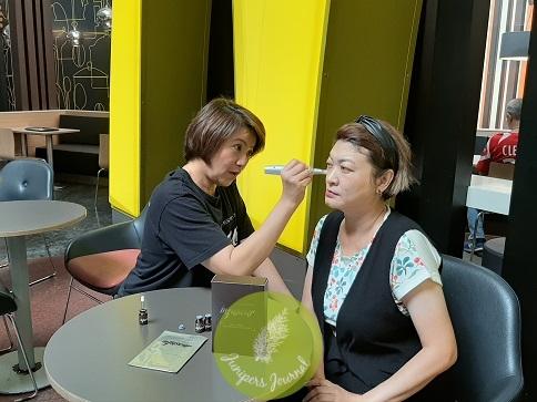 Massaging left side with Dermal Presser
