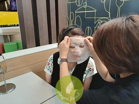 Soothing mask applied