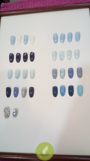 Guests at the event could choose these nail polish colours for their manicure