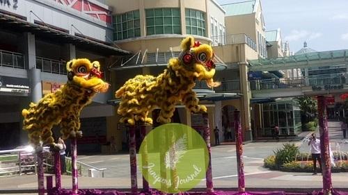 Acrobatic lion dance peeformance