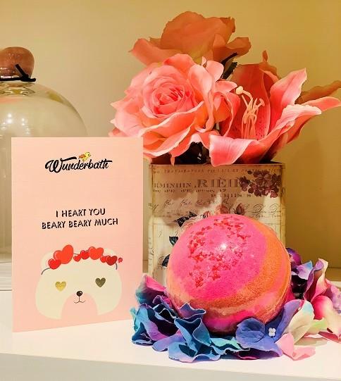 Love is in the Bear Bath Bomb with hidden teddy bear ring by Wunderbath