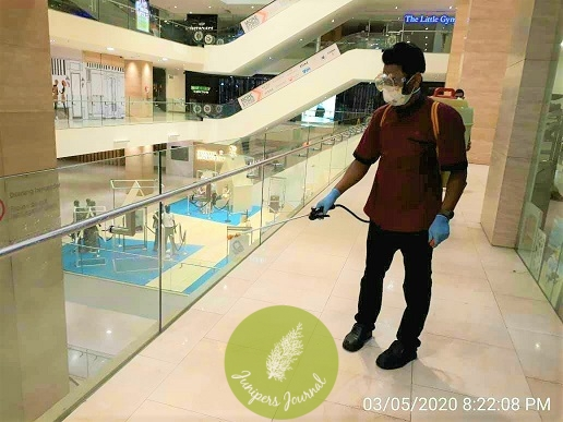Daily cleaning and sanitising efforts of mall facilities and service areas at Intermark Mall