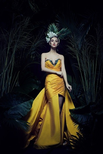 Yellow Wrapping with Beaded Gown