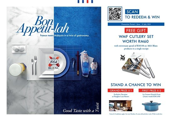At participating supermarkets and hypermarkets, purchase RM150 and above of 1664 Blanc in a single receipt to instantly redeem a WMF cutlery set and stand to WIN Grand Prize of an exclusive vacation at Pangkor Laut Resort or First Prizes of Le Creuset Round French Oven worth RM1,950 each.