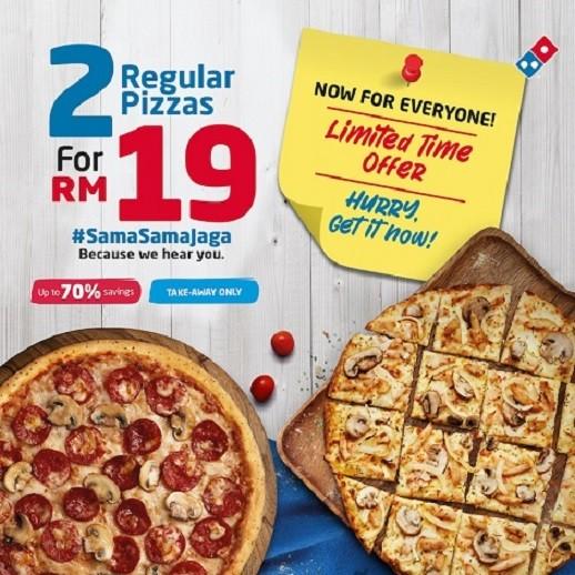Domino's incredible SamaSamaJaga deals offer up to 70% savings on pizzas. Let's #SamaSamaJaga and spread the love
